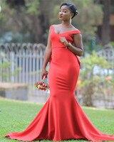 2019 Красное длинное свадебное платье «русалка» с вырезом лодочкой и открытыми плечами, простые свадебные вечерние платья, платье De Soiree, боль