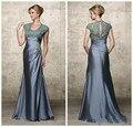 Calças longa 2015 Elegante Do Laço Do Noivo Terno Sereia Tafetá Mãe de os Vestidos de Noiva Com Mangas Vestidos Mae da Noiva Plus Size
