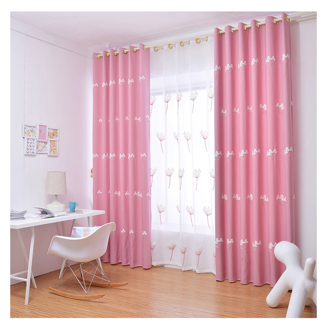 Modern Window Curtains for living room 100% Polyester Pink Floral ...