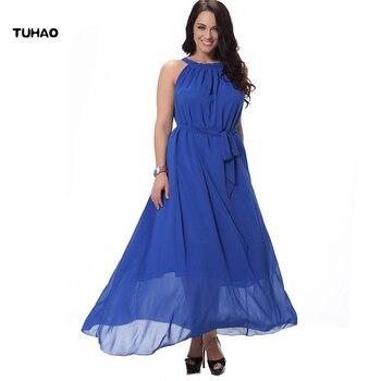 f854f74c3475374 2018 длинное летнее платье, шифоновое длинное женское платье, богемное платье  без рукавов с поясом, женская одежда, большие размеры 4xl 5xl 6xl CM01
