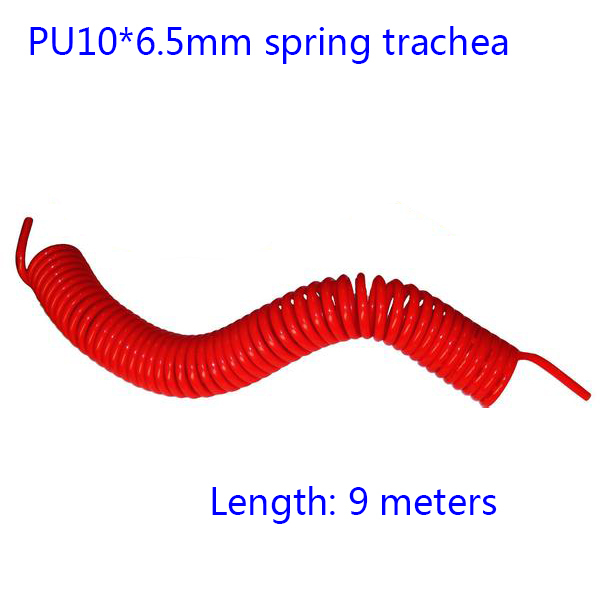 Free shipping Orange (9M-Length)  - Pneumatic components PU10*6.5mm spring trachea Pneumatic Plastic Coil Tube Pipe Hose free shipping 10pcs lot pu 6 pneumatic fitting plastic pipe fitting pu6 pu8 pu4 pu10 pu12 push in quick joint connect