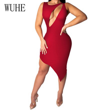 WUHE Summer Sexy Asymmetrical Bodycon Dress Elegant Women Fashion Hollow Out Sleeveless Party Dresses Casual Ladies Vestidos