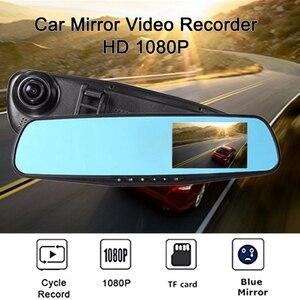 Coche DVR Dash Cam coche espejo retrovisor grabadora de conducción 1080P HD pantalla azul Anti-luz 2,8 pulgadas seguimiento Multi-idioma