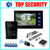 7 TFT Touch Color Screen Video Door Phone Door Bell With RFID And Password Door Access