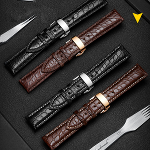 Image 5 - HOWK Watchband 18mm 19mm 20mm 21mm 22mm 23mm 24mm  Real Leather Watch Band Alligator Round Pattern Watch Strap
