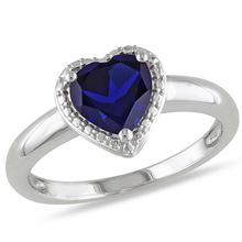 Huitan Women Ring Classic Proposal Heart Wedding Band For Anniversary Present Vintage Blue CZ Stone Hot Selling