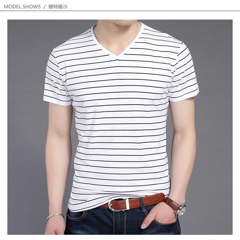 Liseaven New Men V Neck Striped T-shirt Short Sleeve tshirt Fashion Men's tees Clothing 7