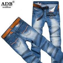 Aodiao 2016 Осень Зима Причинно Печатных Клевер Классический Голубой Дизайнерские джинсы Мужчин Высокого Качества Стретч-Плюс Размер Жан Slim Fit мужчины