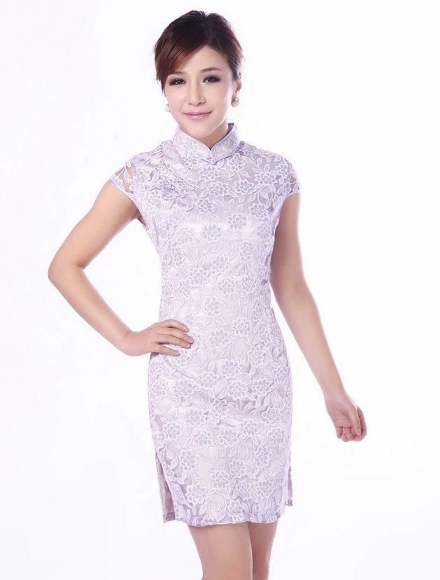Hot Sale Fashion Light Purple Chinese Women's Lace Cheongsam Mini Qipao Dress Flower Size S M L XL XXL Free Shipping JY016-1#