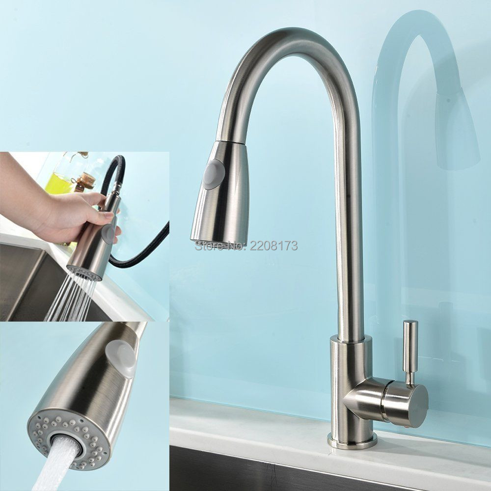 Smesiteli Promotions High Quality Brushed Nickel Stainless Steel Single Handle Pull Out Spray Kitchen Faucet Hot & Cold Water
