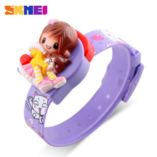 SKMEI 1240 Girls Barn Digital Armbandsur Mode Rem Time Display Lady Klockor Kids Cartoon Dial Klockor Relogio Relojes