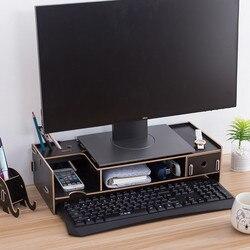 Многофункциональная подставка для монитора компьютера ноутбука поддержка деревянный ручной работы собрать стенд с ящик для хранения косм...