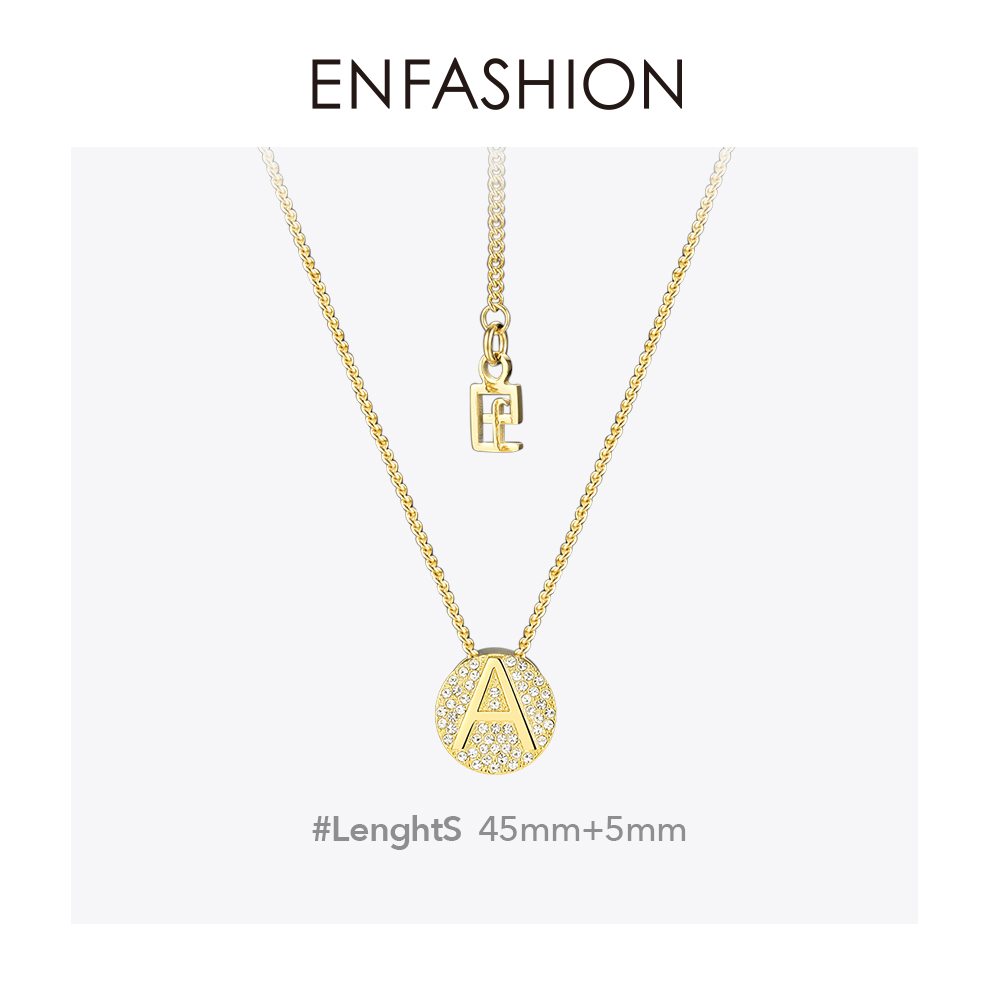 Image 4 - Enfashion Letter Initial Pendants Necklace Stainless Steel Gold Color Letter Charms Necklaces For Women Fashion Jewelry 188002Pendant Necklaces   -