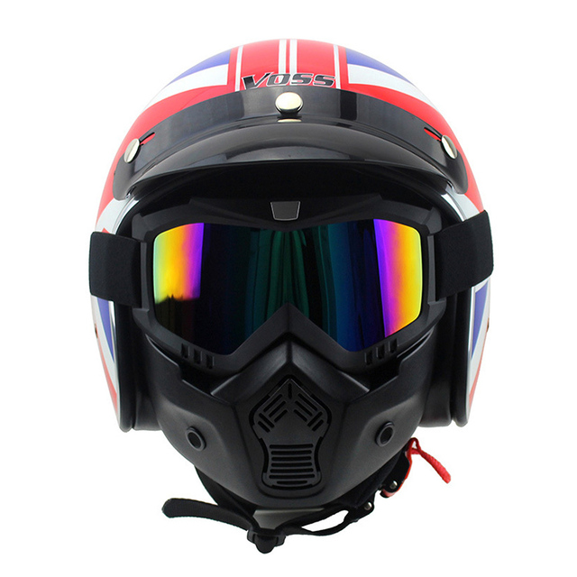 Motorcycle Paintball Half Face Detachable Vintage Racing Goggles Helmet Glasses Mask Snowboard Eye Wear