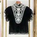 Роскошная дизайнерская брендовая шифоновая рубашка для женщин Винтажная, этнический стиль вышивка точка кружевная рубашка гофрированный ...