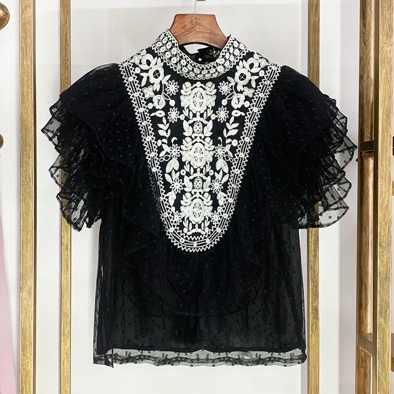 Camisa de gasa de marca de diseñador de lujo para mujer Vintage estilo étnico bordado punto encaje camisa con volantes de gasa Top