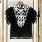 Chemise en mousseline de soie de marque de luxe pour femmes Vintage Style ethnique broderie Point dentelle chemise à volants en mousseline de soie haut