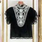 Luxe Designer Merk Chiffon Shirt voor Vrouwen Vintage Etnische Stijl Borduurwerk Punt Kant Shirt Verstoorde Chiffon Top
