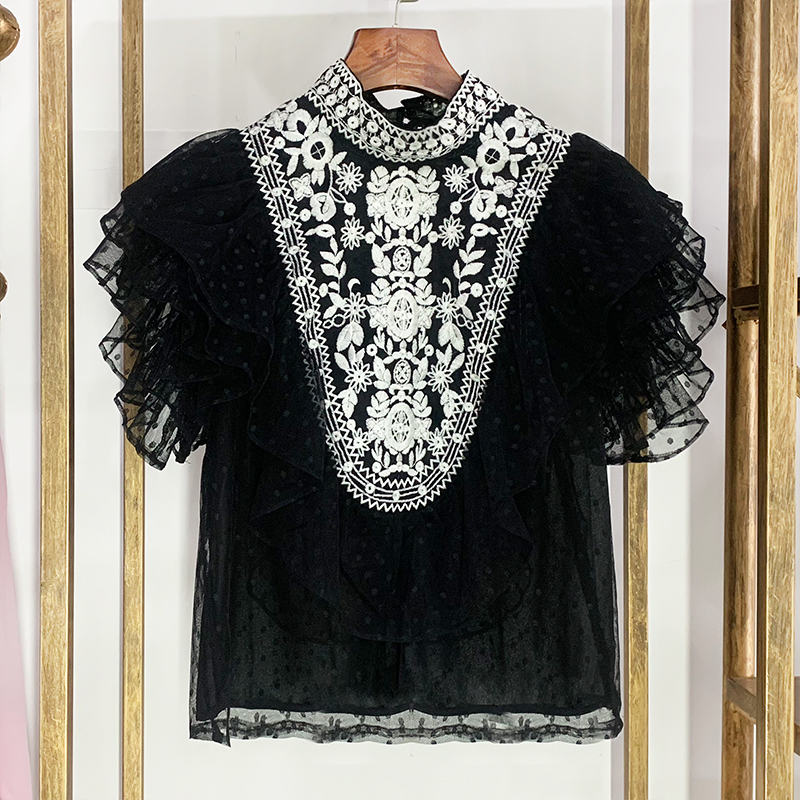 Luxury Designer Brand Chiffon Shirt for Women Vintage Ethnic Style Embroidery Point Lace Shirt Ruffled Chiffon Top