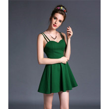 Sexy super mini straps ball gown women dress green black Elastic white dress blackless party summer