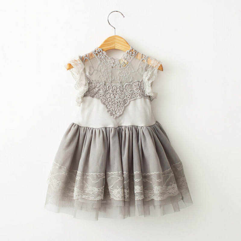 Children Clothings 2017 Summer style Girl Lace Dress Vintage Ruffles Toddler Girls Princess Party/Birthday Tulle Dress Costumes
