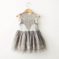New 2016 Summer Style Flower Girls Princess Lace Dress Toddler Girls Wedding Party Tulle Dress 2