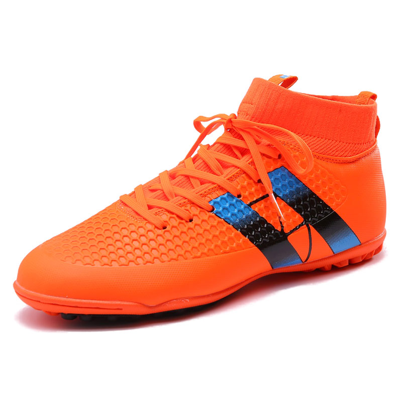 6088194ac New Men Football Boots Futsal TF High Ankle Soccer Shoes Hard wearing Adult  Professional Indoor Sock Cleats Sports Trainer -in Soccer Shoes from Sports  ...