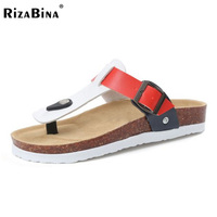 RizaBina Size 35 44 Simple Women Gladiator Flats Sandals Metal Buckle Flats Flip Flops Summer Beach