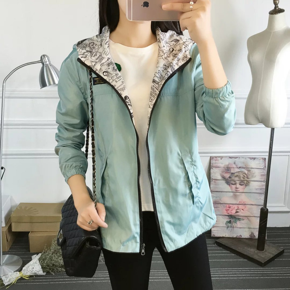 2018 Autumn Women Bomber   Basic     Jacket   Pocket Zipper Hooded Two Side Wear Cartoon Print Outwear Loose Coat All Matched Autumn New