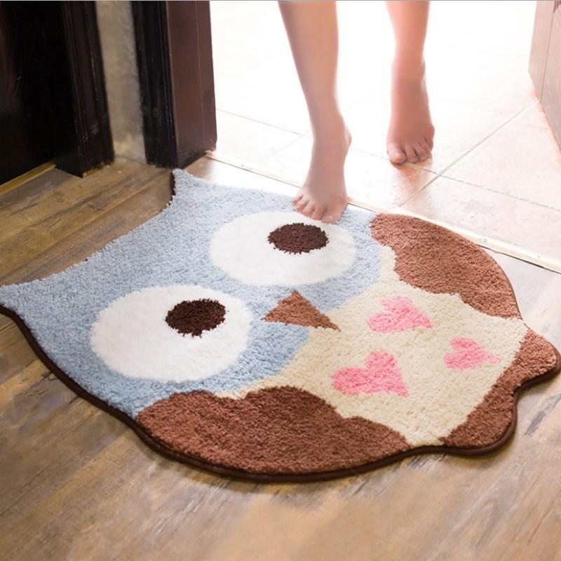 Joli hibou absorbant salle de bain tapis anti-dérapant bande dessinée porte tapis porte salle de bain tapis toilette salle de bains cuisine chambre couverture