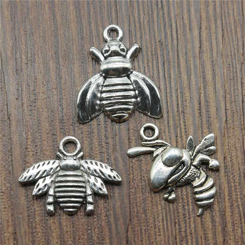 20 pçs favo de mel pingente charme para fazer pulseira de prata antigo cor mel abelha charme jóias diy abelha charme