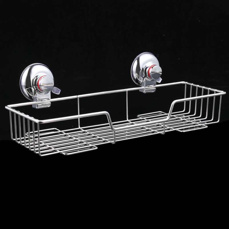 Stainless Steel Bathroom Shelf Suction Cups Vacuum Suction Bathroom Cddies  Rectangle Shower Wall Shelves Kitchen Storage Basket