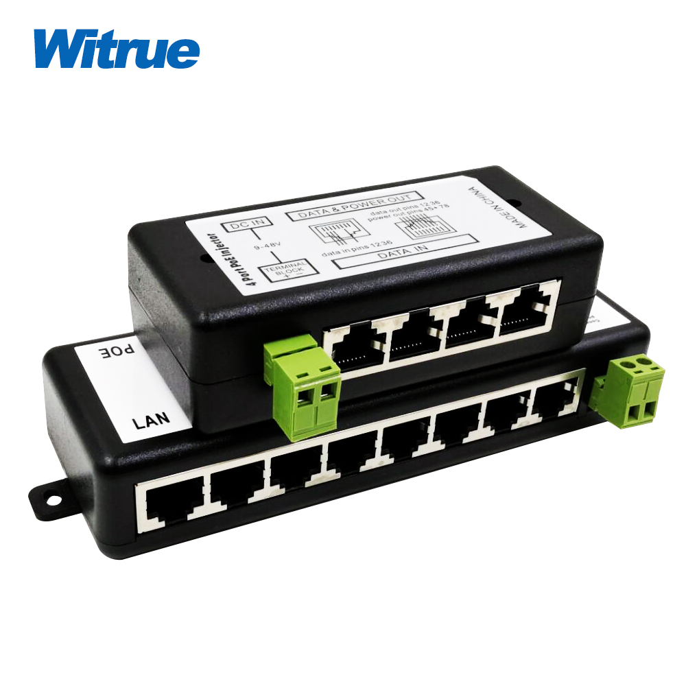 Witrue Iniettore POE 4 Porte 8 Porte per la Videosorveglianza Telecamere IP Power Over Ethernet IEEE802.3af