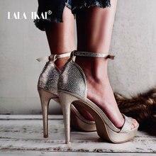 LALA IKAI Platform Sandals Women Buckle Strap Summer Sexy High Heel Party Shoes Sandalie Drop-Shipping Ladies Sandals 014C3408-4 vladimir ross miss lala sandals