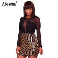 Abasona Women Sequins Dress Evening Party Long Sleeve Mesh Dresses Women O Neck Sexy Night Club
