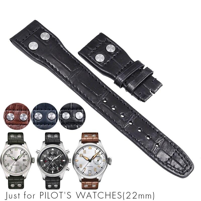 Iwc 파일럿 크로노 그래프 용 악어 악어 시계 밴드 정품 가죽 시계 밴드 팔찌 스트랩 남자 22mm 블루 블랙 브라운-에서워치 밴드부터 시계 의  그룹 1