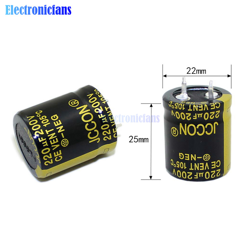 diymore <font><b>200V</b></font> <font><b>220uF</b></font> 22X25mm Aluminum Electrolytic Capacitor Through Hole Capacitor 200V220uF 22*25mm High Frequency Low ESR image