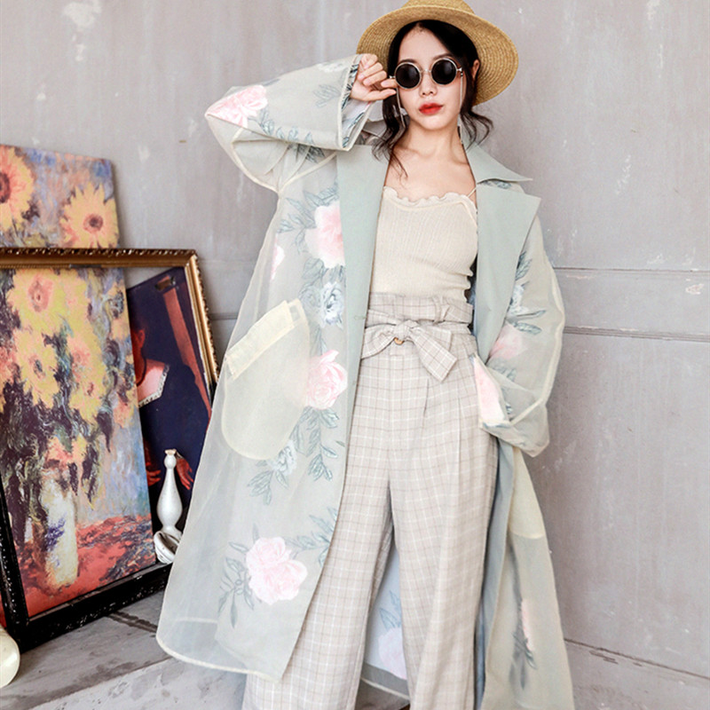 Spring Autumn Women Casual Loose Long   Trench   Ladies Elegant Organza Floral Print Femme Long Coat Women Clothes 2019