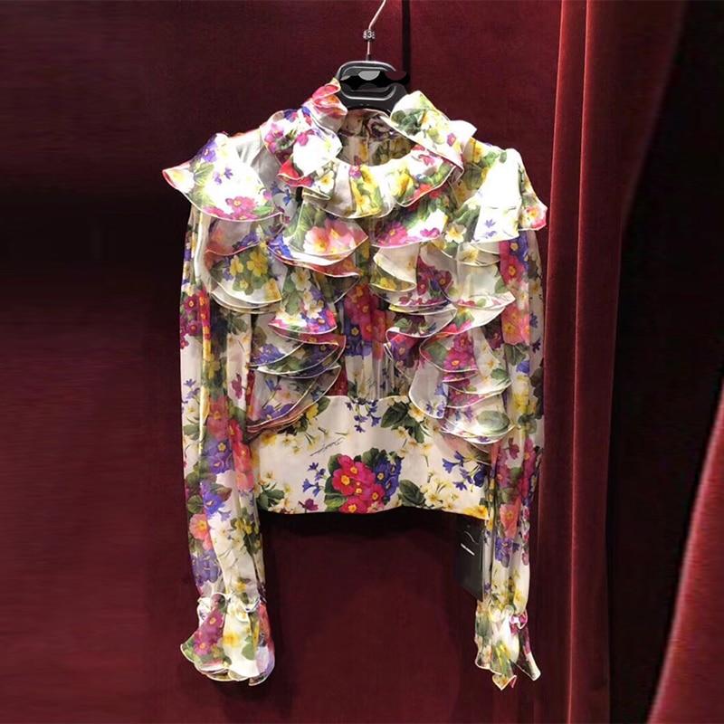 2018 Spring Autumn Runway Designer Blouse Women's Elegant Long Sleeve Floral Printed Ruffle Chiffon Blouse Shirt