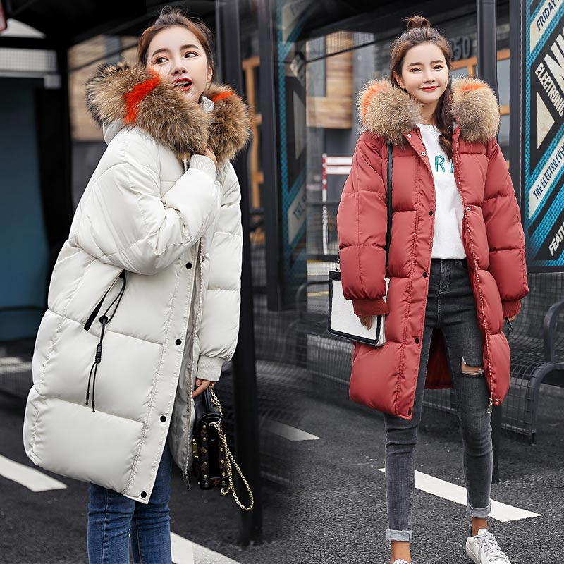 B women Big fur winter coat thickened parka slim long down cotton ladies jacket new