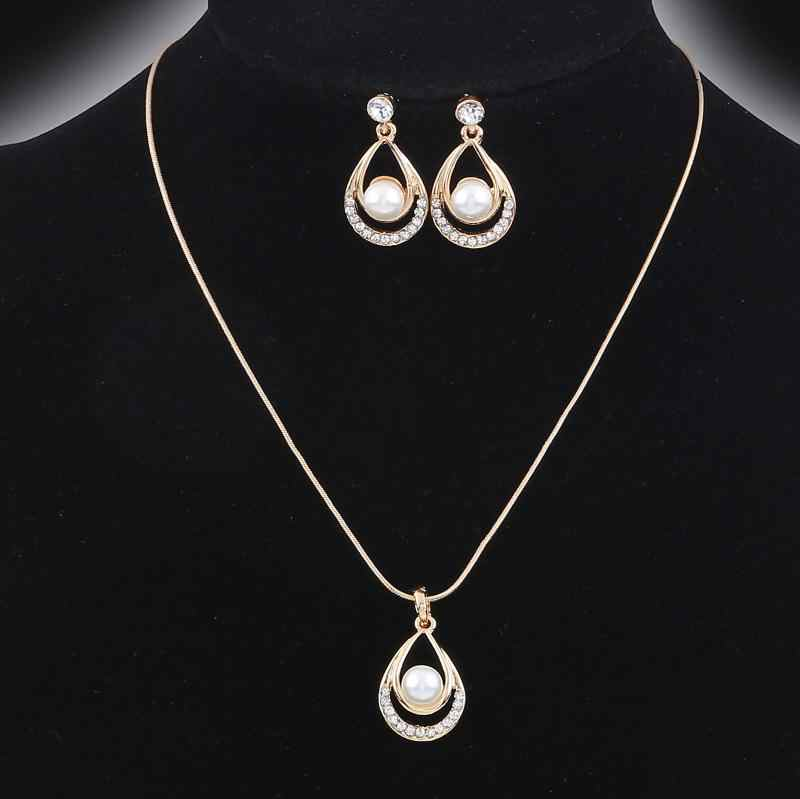 Valentine Day Gifts Gold Color Simulated Pearl Water Drop Crystal Pendant Necklace Earrings Wedding Jewelry Sets For Women