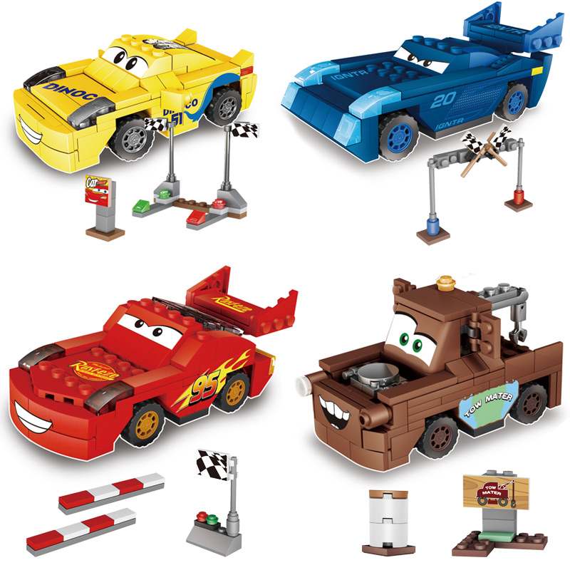 4 in 1 Hot Sale Pixar Cars Juniors Smokey's Garage building blocks Educational Toys Compatible with LegoINGlys Car Child gift hot sale ir educational interactive digital whiteboard