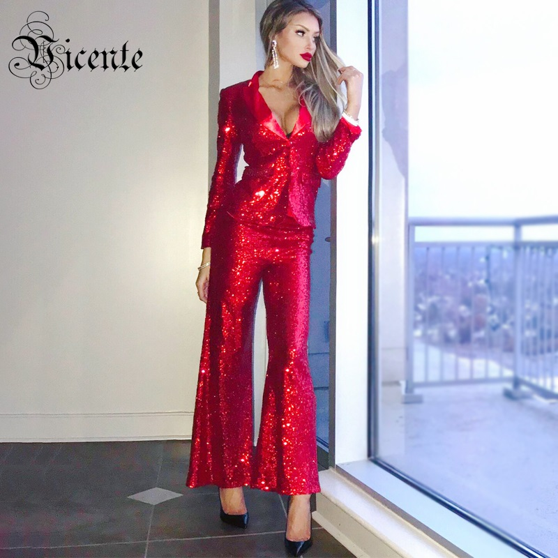 b715ab1c62132 Vicente HOT 2019 New Fashion Elegant Red Sequins Embellished Sexy ...