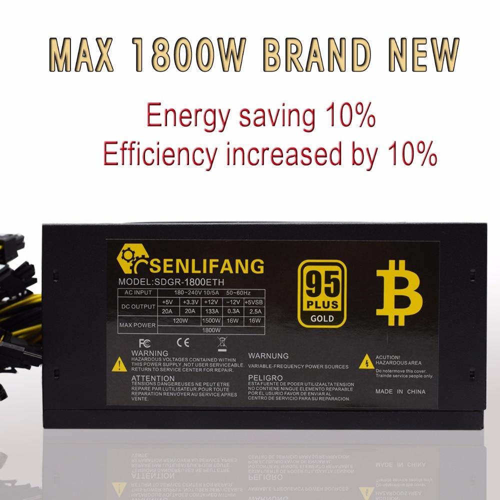 1800 W 95% d'efficacité ATX12V V2.31 ETH Coin Mining Mineur Puissance fournir Active PFC Alimentation Soutien 6 cartes graphiques pour bitman