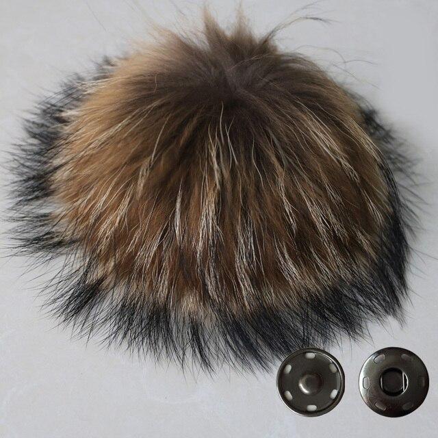 Бесплатная Доставка 15-16 см 100% реального ракун меховой шарик брелок меховая шапка зимние шапки pom pom для обуви меховая шапка аксессуары