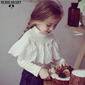 2017 Baby Girls White Shirts for kids Cotton Children Shirts Lacework Long Sleeve Baby Trouser Navy Style Lace Top Tee 1-4 Years