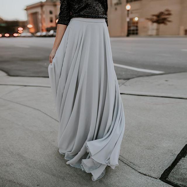 2018 Для женщин элегантный пол Длина Плиссированные Юбки Длинные Тюль Юбки для женщин плюс Размеры Макси Юбки для женщин женская одежда Jupe Femme WS5131S