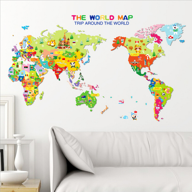 Wall Stickers Mondo.Animal World Map Wall Sticker Stickers For Kids Rooms Bedroom Cartoon Home Decor Living Rooom Carte Du Monde Adesivo De Parede In Wall Stickers From