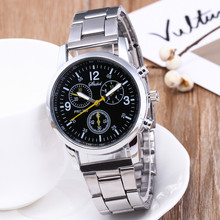 Watches Fashion Men Luxury Crystal Stainless Steel Analog Qu