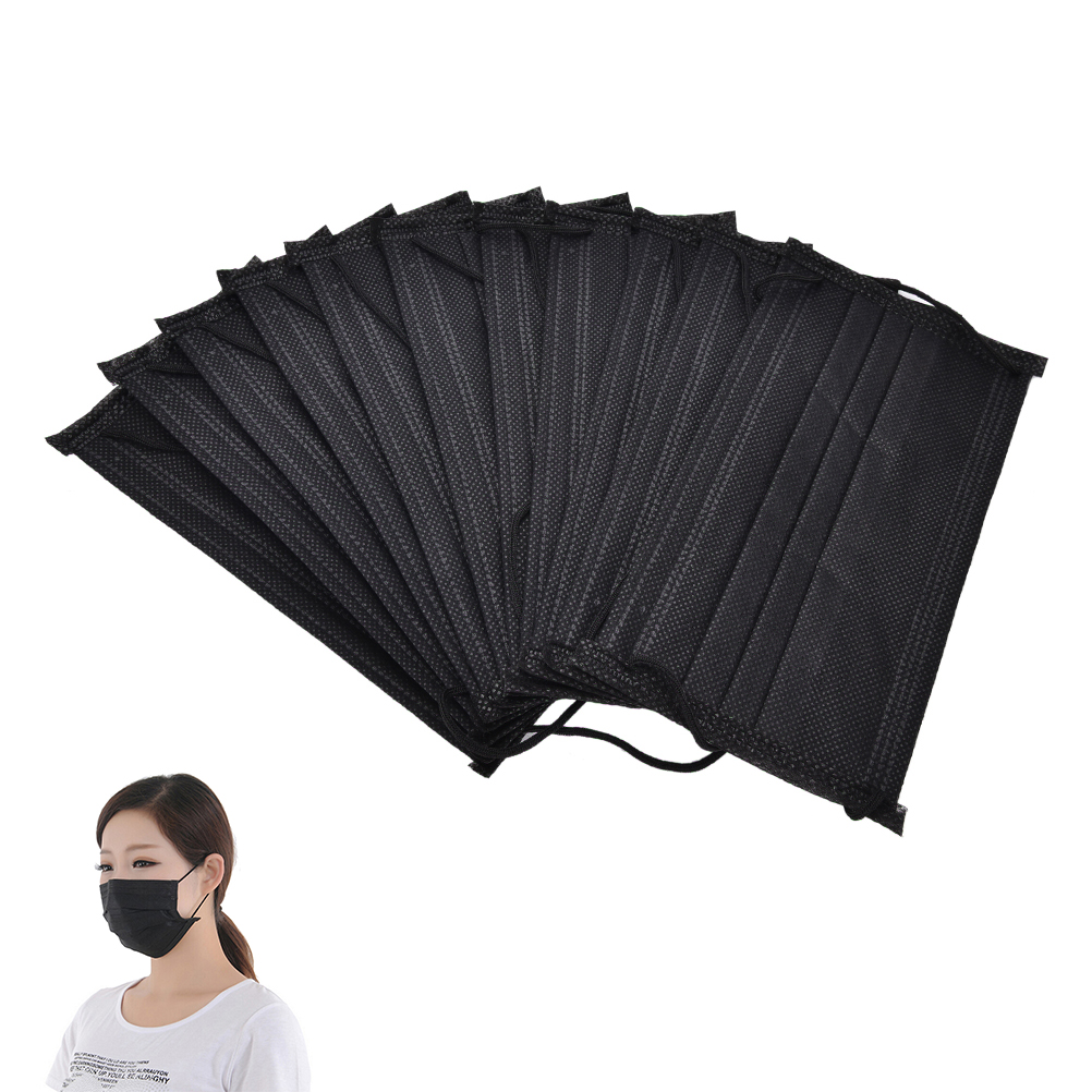 10pcs/pack Black Non Woven Disposable Face Mask 4 Layer Medical Dental Earloop Activated Carbon Anti-Dust Face Surgical Masks